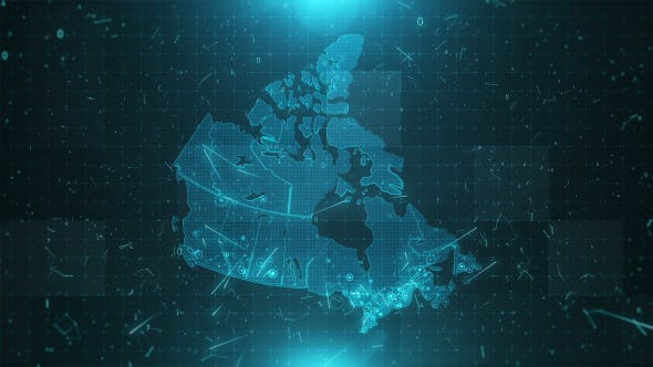 Cover Image for Canada Map Background Cities Connections 4K