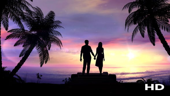 Thumbnail for Couple On The Tropical Sunset Background
