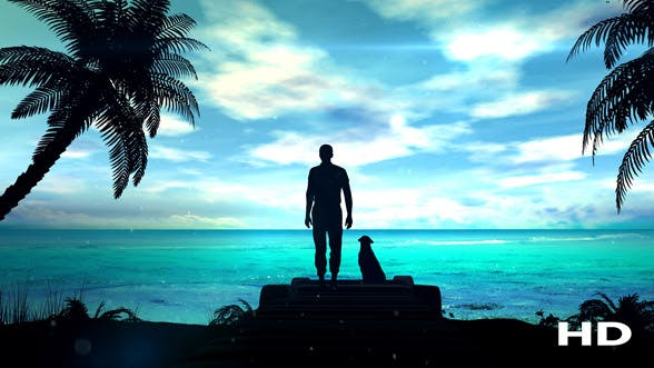 Thumbnail for A Lonely Man With Dog Is Looking At The Green Ocean