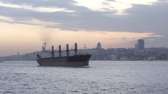 Cargo Vessel Passing Bosphorus