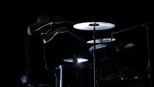 Thumbnail for Good Music in the Performance of a Professional Drummer on Black Background