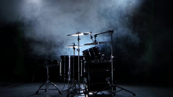 Thumbnail for Set of Drums, Cymbals and Other Percussion Instruments. Black Smoky Background.