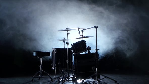 Thumbnail for Set of Drums, Cymbals and Other Percussion Instruments. Black Smoky Background. Back Light.