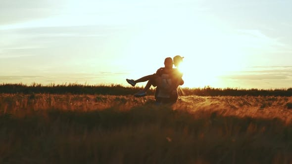 Thumbnail for Girl and a Man in Love in the Field