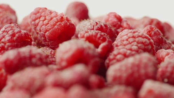 Thumbnail for Juicy Red Raspberries, Spin on White Background
