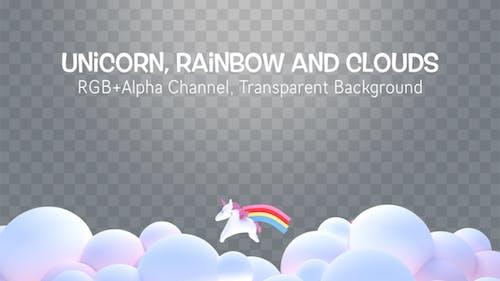 Unicorn, Rainbow and Clouds Overlay