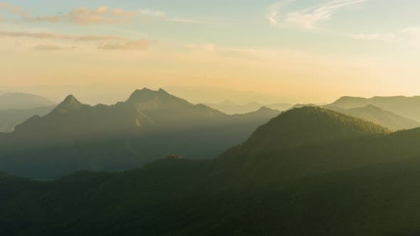 Thumbnail for Mountain With Sun Rays In Summer