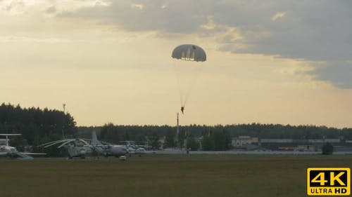 Paratrooper Landing with Parachute