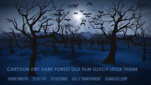 Cartoon Dark Dry Forest Old Film Glitch Look Theme