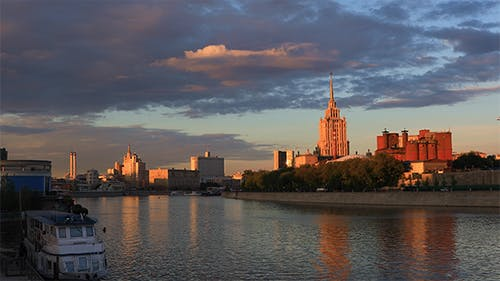 Moscow River in The Rays of The Setting Sun