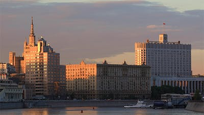 House of The Government of The Russia  in The Evening Sun