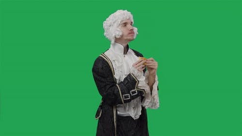 Portrait of Courtier Gentleman in Black Historical Vintage Suit and Wig Greedily Eating Cheeseburger