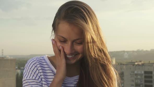 Thumbnail for Happy Girl Smiling Looking at Camera