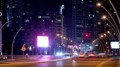 Night traffic lights and vehicle traffic