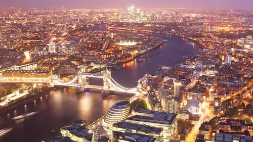 Timelapse elevated view of London