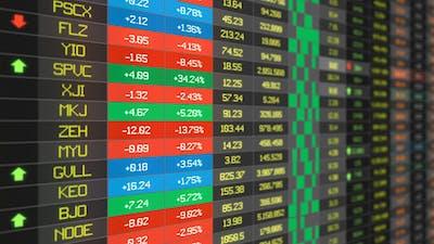 Stocks Price Table Loop - Medium shot