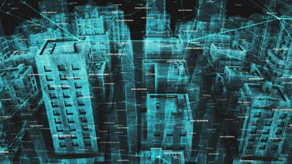 Network Social And Data Communication Connection Around Digital Hologram City