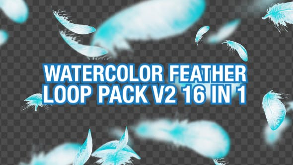 Watercolor Falling Feather Pack V2 16 in 1