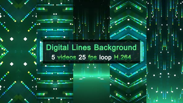 Thumbnail for Digital Lines Background 5 Pack