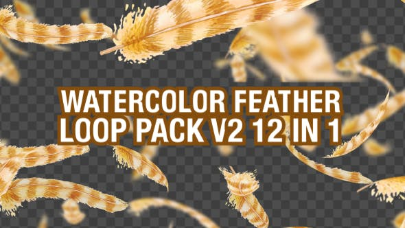 Watercolor Falling Feather Pack V3 12 in 1