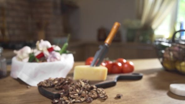 Thumbnail for Still Life with Cheese and Nuts, Cooking Food, Food on the Kitchen Table, Cooking at the Country