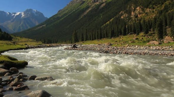 Rough River in the Mountains. Kyrgyzstan