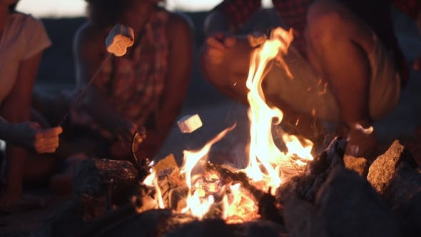 Thumbnail for Crop People Grilling Marshmallows in Fire
