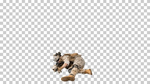 Soldier firing from lying position, Alpha Channel