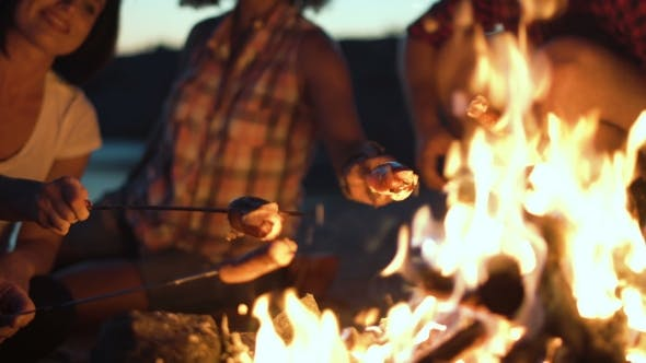 Thumbnail for Crop People Grilling Sausages in Fire