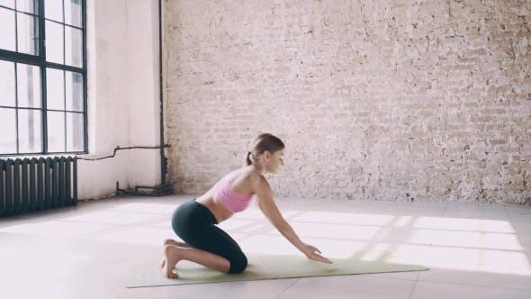 Thumbnail for Beautiful Yoga Girl Doing Asanas in Studio