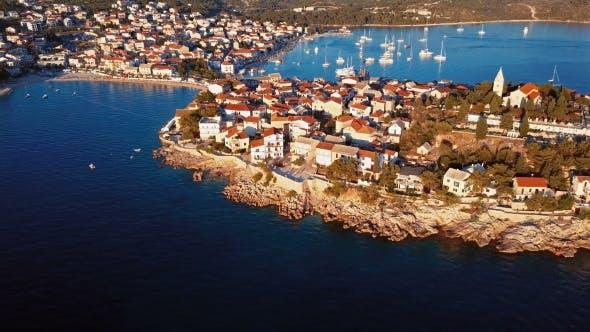 Thumbnail for Sunset Flying Over Resort Adriatic Town Primosten, Croatia.
