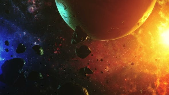 Thumbnail for A Beautiful Flight in a Colorful Space with Asteroids with Sounds and a Planet