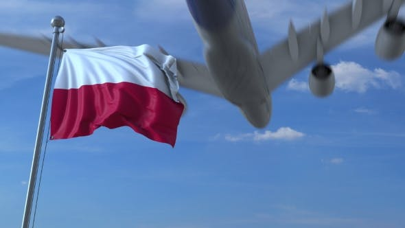 Thumbnail for Commercial Airplane Landing Behind Waving Polish Flag