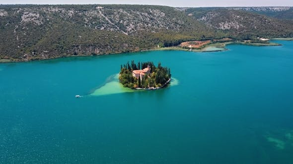 Thumbnail for Aerial View of Visovac Monastery on Krka River, Croatia