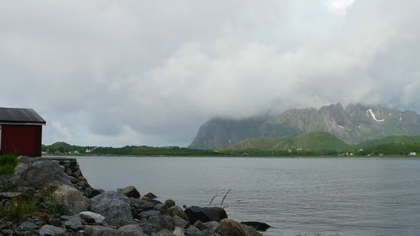Thumbnail for Beautiful Panorama View on Lofoten Islands in Twilight, Norway.  Clip.
