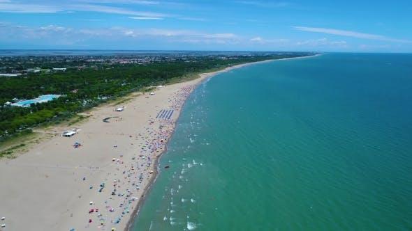 Italy, the Beach of the Adriatic Sea. Rest on the Sea Near Venice
