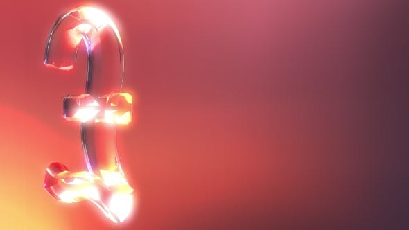 Thumbnail for Glass Pound Sterling Sign Against Red and Orange Background