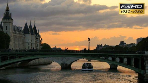 Thumbnail for Seine River in Paris at Sunset Orange Sun