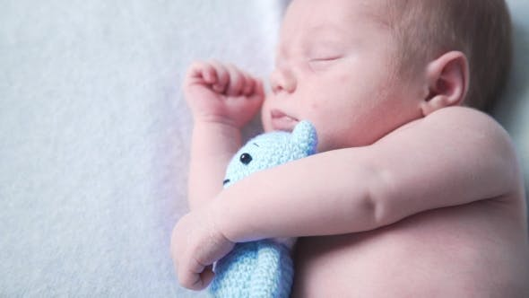 Thumbnail for Newborn Child Is Sleeping with Favourite Toy, Sweet Dreams of Little Baby, Healthy Sleep, Newborn