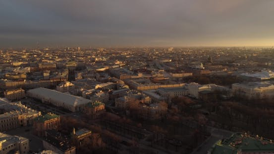 Thumbnail for The Roofs of St. Petersburg Aerial River Neva
