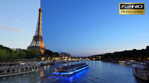 Eiffel Tower in Paris Time Lapse from Day to Night