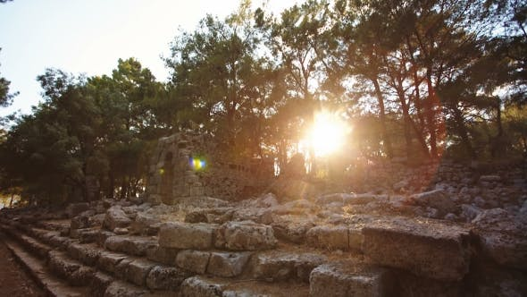 Thumbnail for Antique Ruins of an Ancient Fortress at Sunset