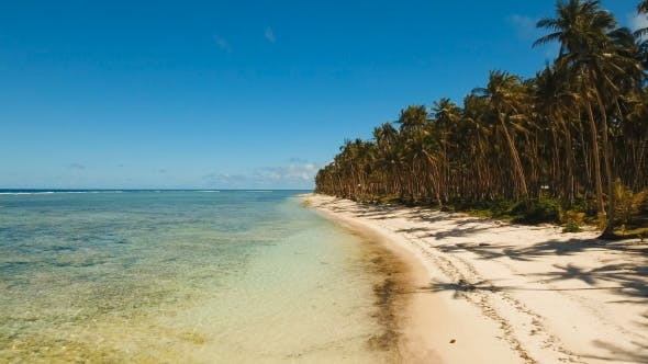 Thumbnail for Aerial View Beautiful Beach on a Tropical Island Philippines,Siargao