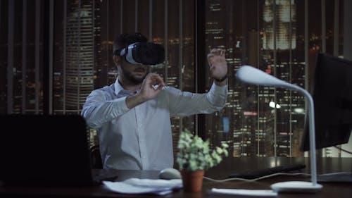 Man in VR Glasses in Office