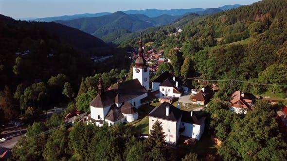 Flying Over Church in Spania Dolina, Slovakia
