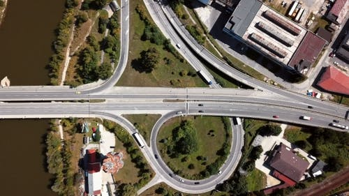 Cars on Highway Intersection Aerial