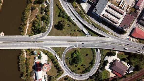 Thumbnail for Cars on Highway Intersection Aerial