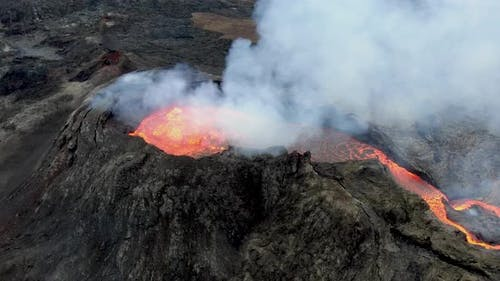 Fagradalsfjall erupting volcano crater seen from above, Iceland