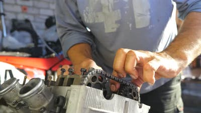 View on Disassembled Motorcycle Engine