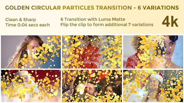 Golden Circular Particles Transition – 6 Variations